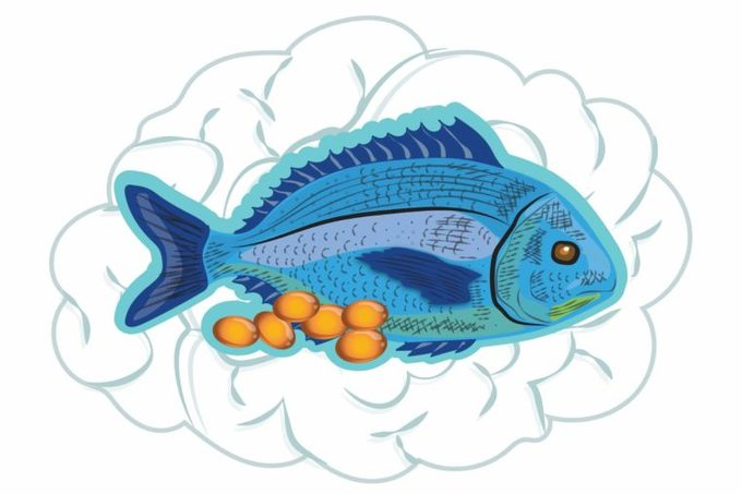Illustration of a fish with fish oil capsules