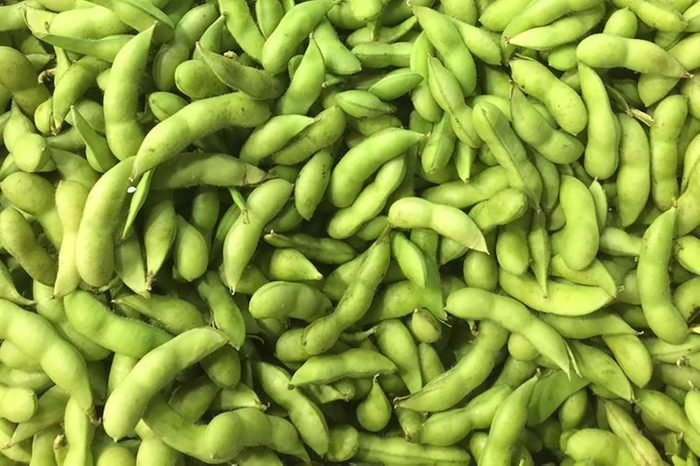 pile of vegetable soybeans, green soybeans, edamames or called edamame beans, background
