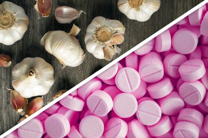 garlic next to pink pills