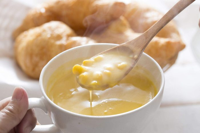Cup of creamed corn soup