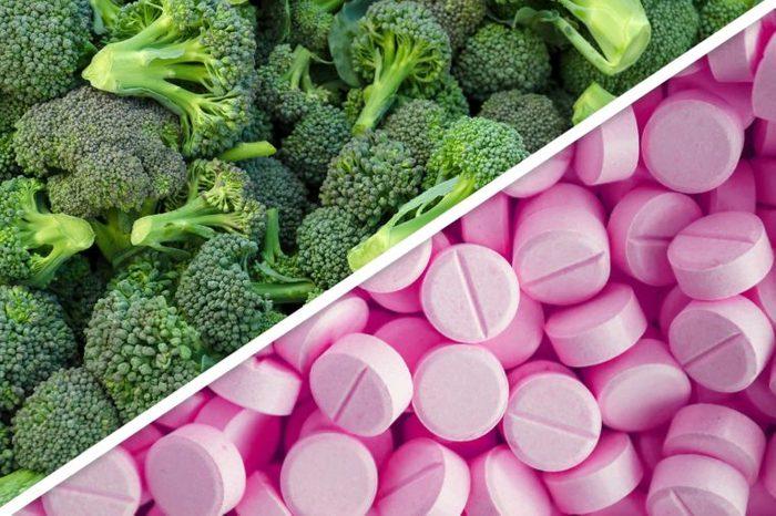 broccoli next to pink pills