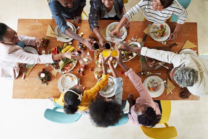 family dinner shot from above