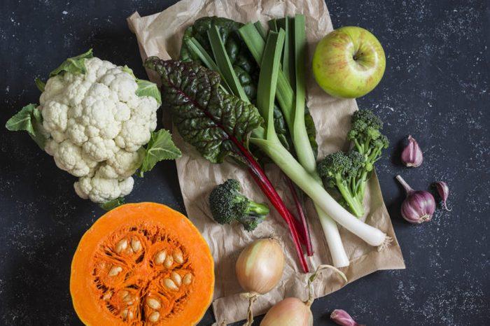 pumpkin, cauliflower, chard, leeks, broccoli, onion, garlic, and apple