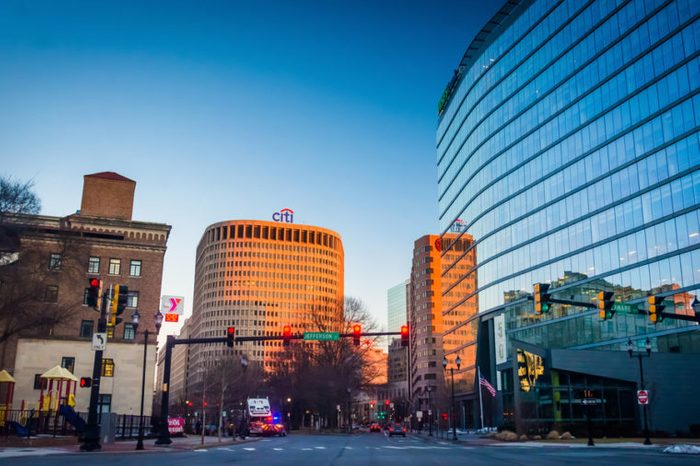 Intersection and modern buildings in downtown Wilmington, Delaware.