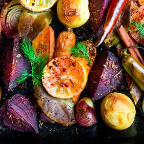 Roasted vegetables, closeup view
