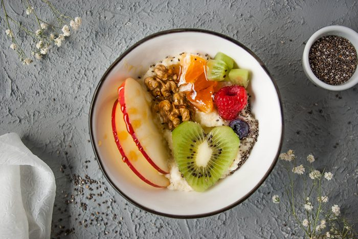 Millet in a bowl with fruits and chia seeds