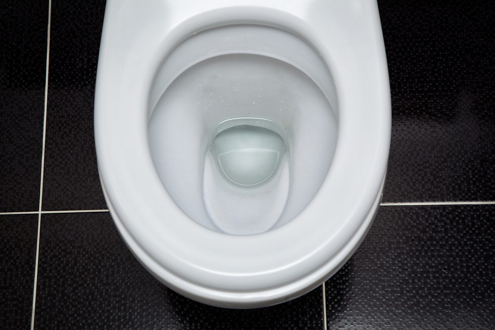 looking into toilet bowl