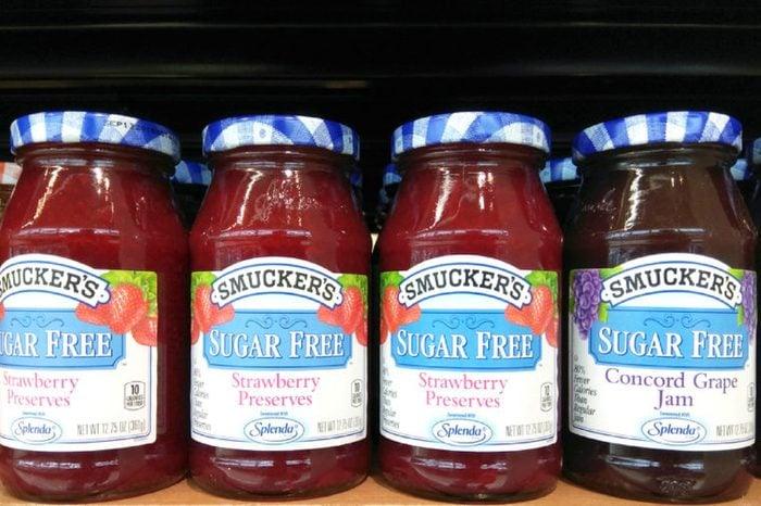 Sugar-free Smuckers fruits jams on store shelf