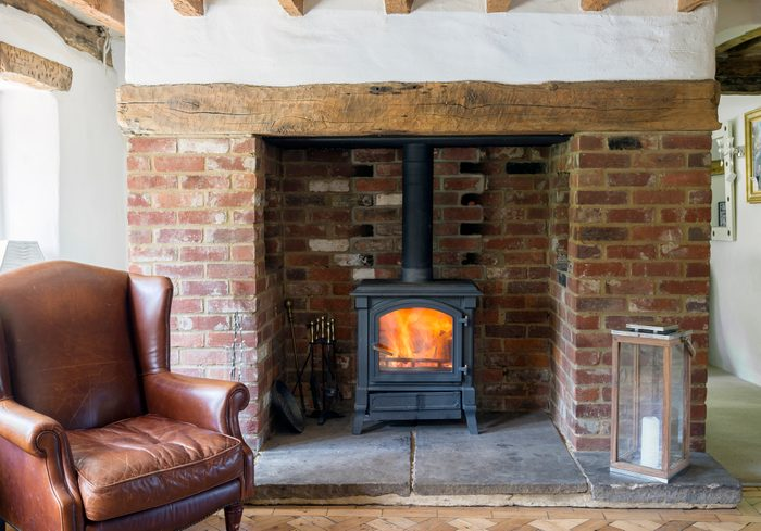 wood burning stove in living room of home