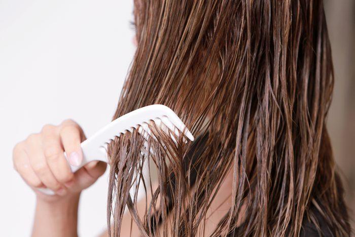 brushing wet hair