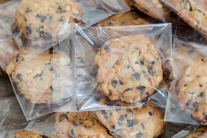 Chocolate chips cookies in plastic wrap packaging.