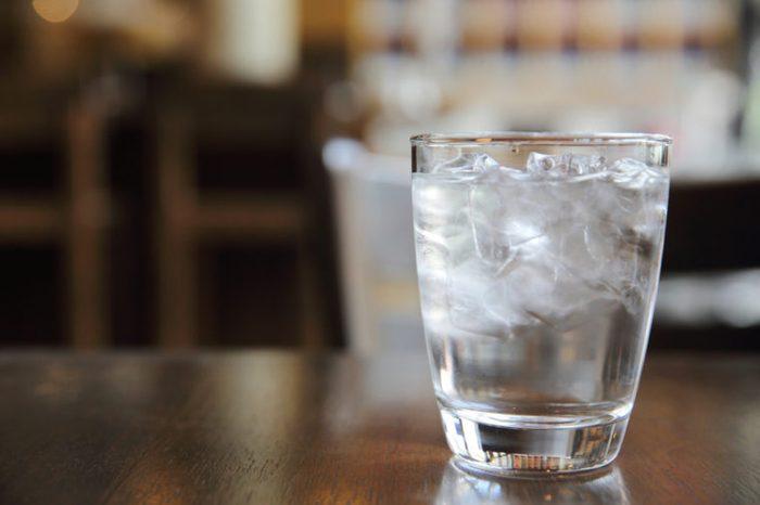 Water glass in restaurant