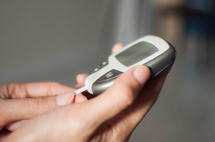 close up of diabetes blood sugar device