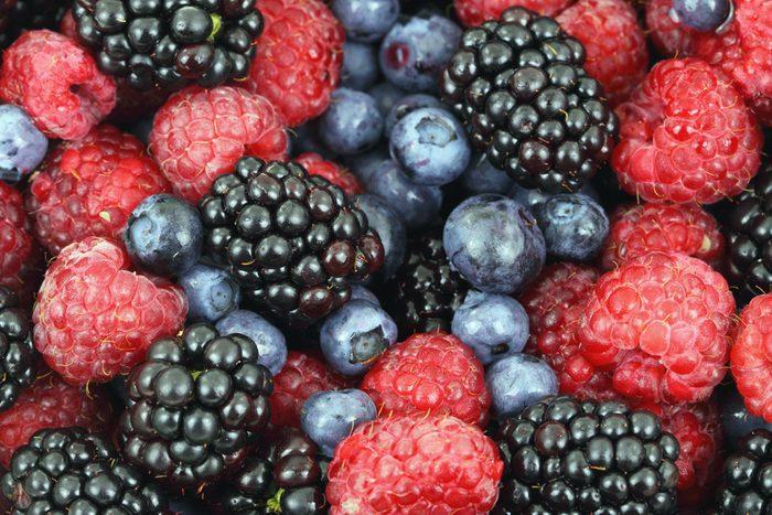Berries red raspberries, blackberries and blueberries