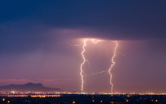 Lightning strikes during a storm over El Paso, Texas