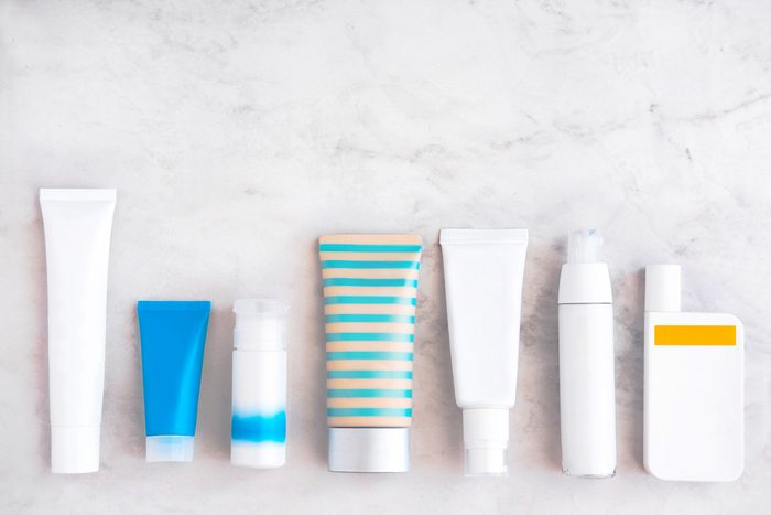 bottles of sunscreen and skincare