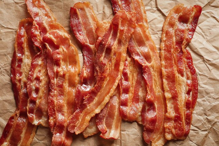 Cooked bacon on parchment