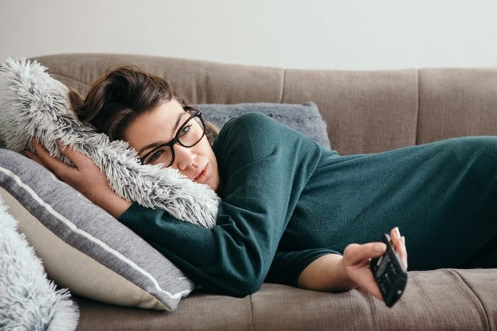 anxiety and social life woman on couch