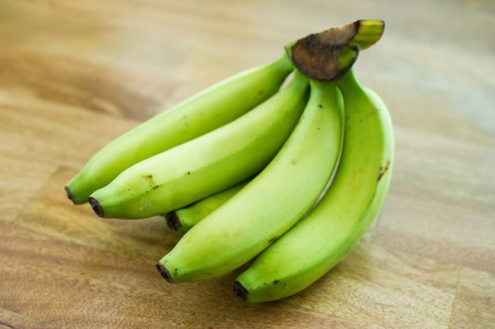 Bunch of green bananas.