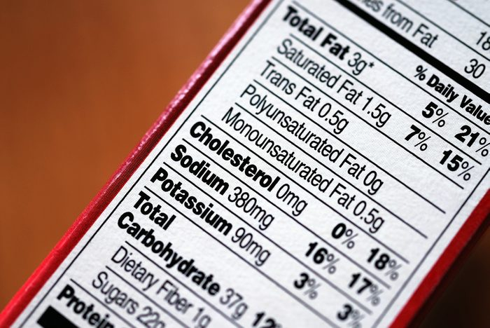nutrition facts label on a food product