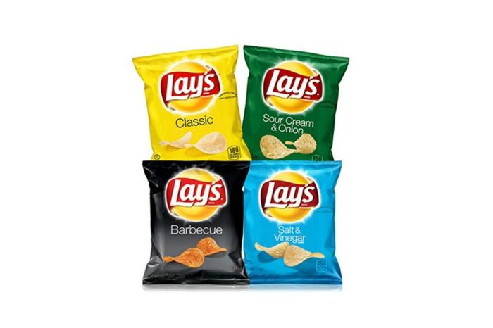 four bags of Lay's potato chips