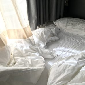 Empty Bed after wake up in the morning.