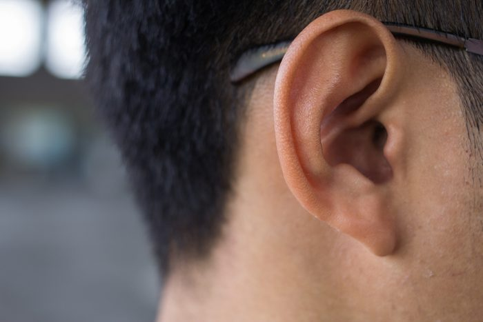Close up of man's ear