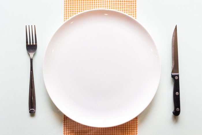empty plate with knife and fork