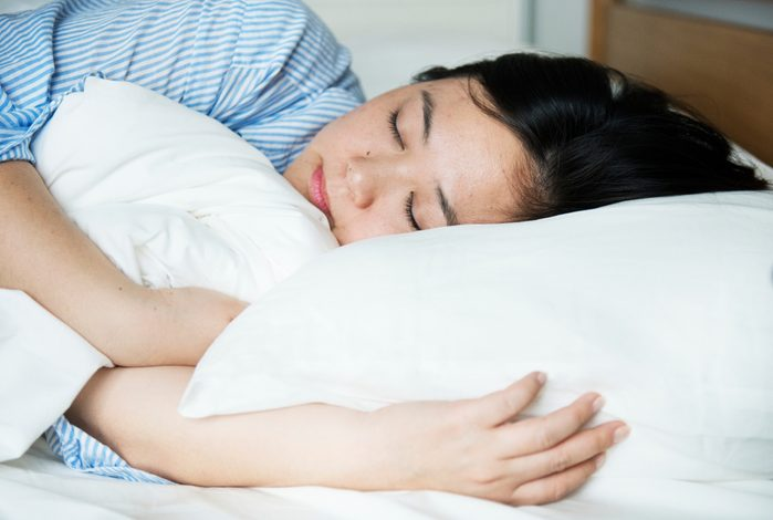 A woman sleeping