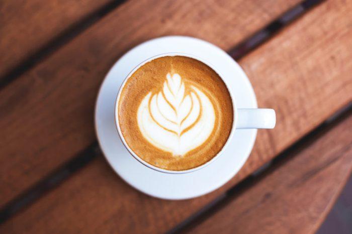 Overhead shot of cup of latte