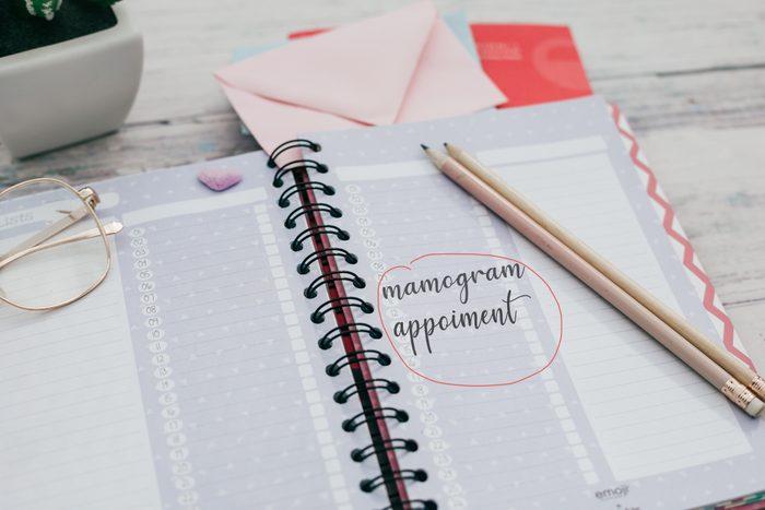 mammogram appointment in calendar