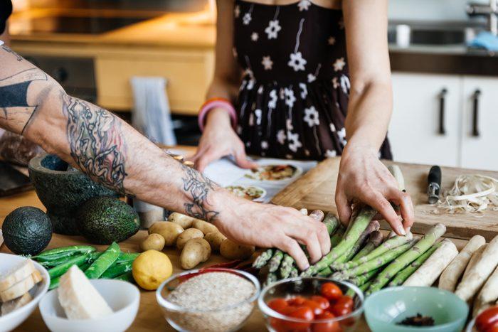couple preparing healthy meal