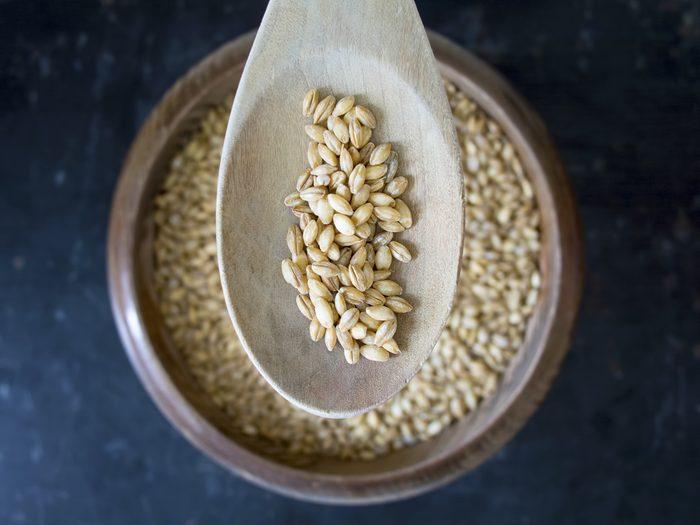 bowl and spoon of barley