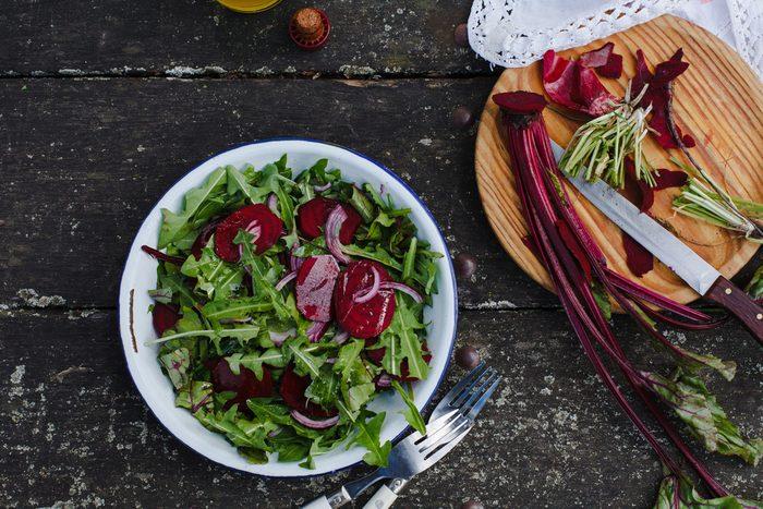 salad with dandelion greens