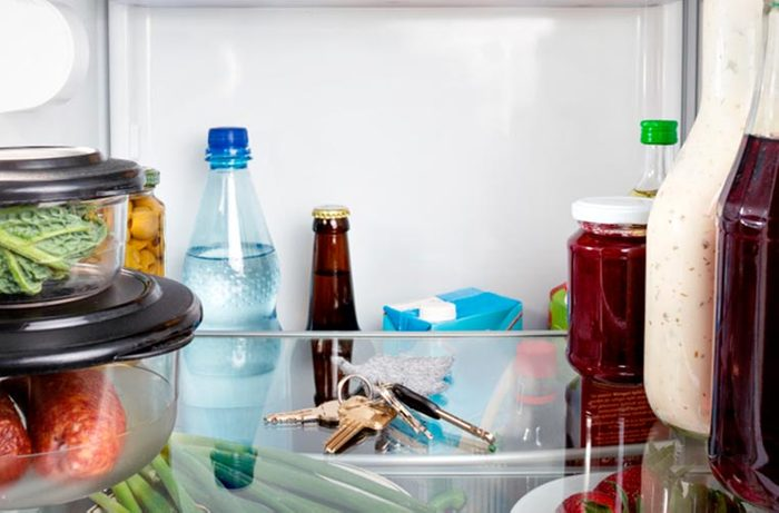 Keys in refrigerator