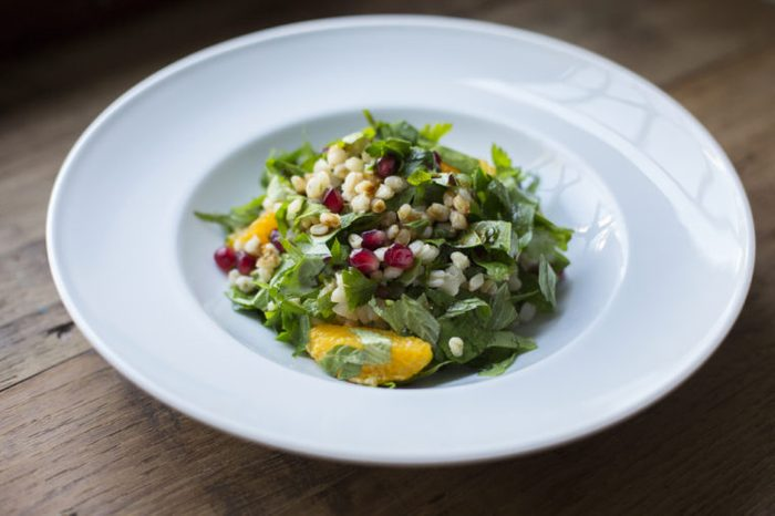 Mint Salad with Pomegranate and Wheat Berry in bowl