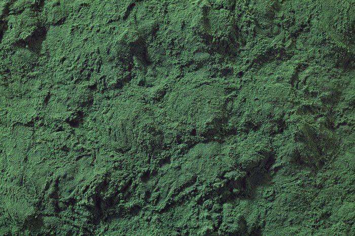 Bakcground of spirulina algae powder