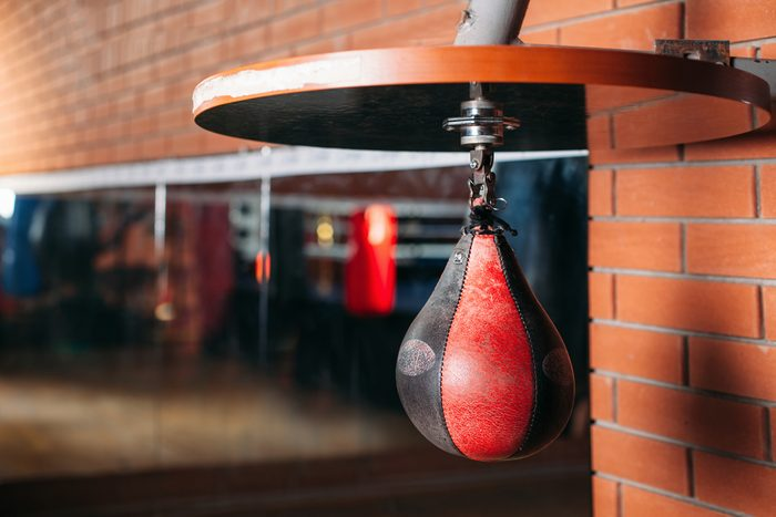 Black and red punching bag.