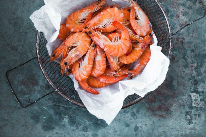 Bright pink shrimp