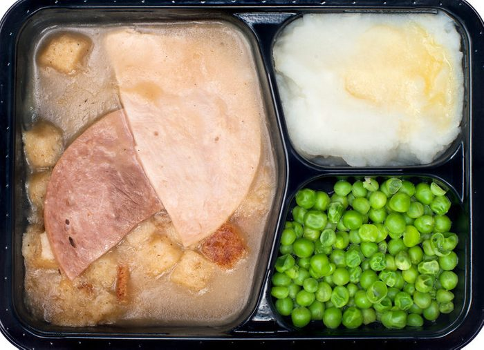 frozen meal with ham, peas, and mashed potatoes
