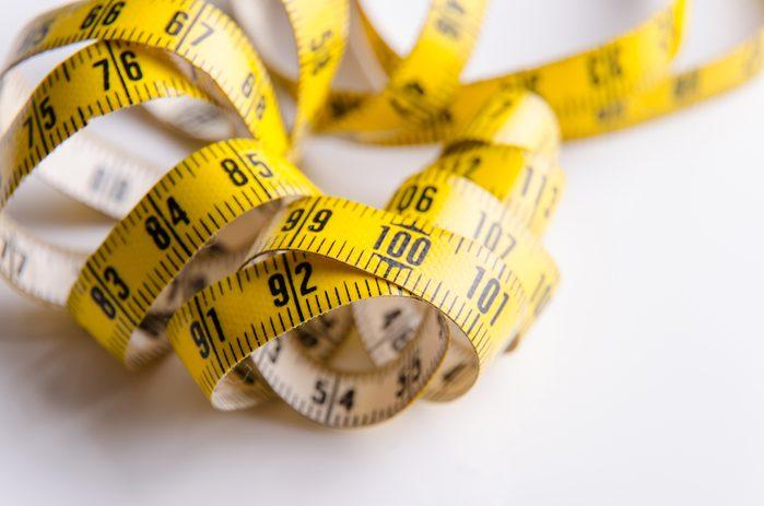 Centimeter for using in dressmaking or measuring.