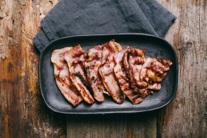 Bacon slices on a tray