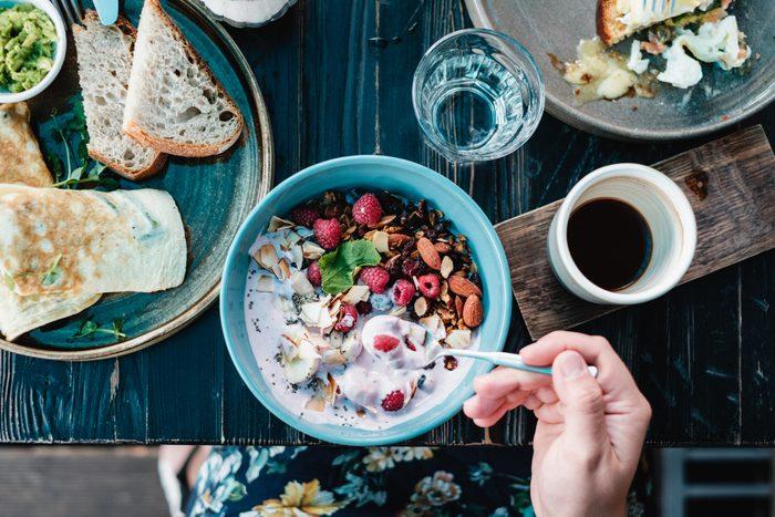 overhead shot of healthy breakfast plates