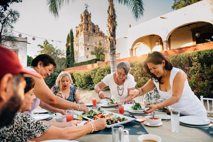 family dinner gathering outside