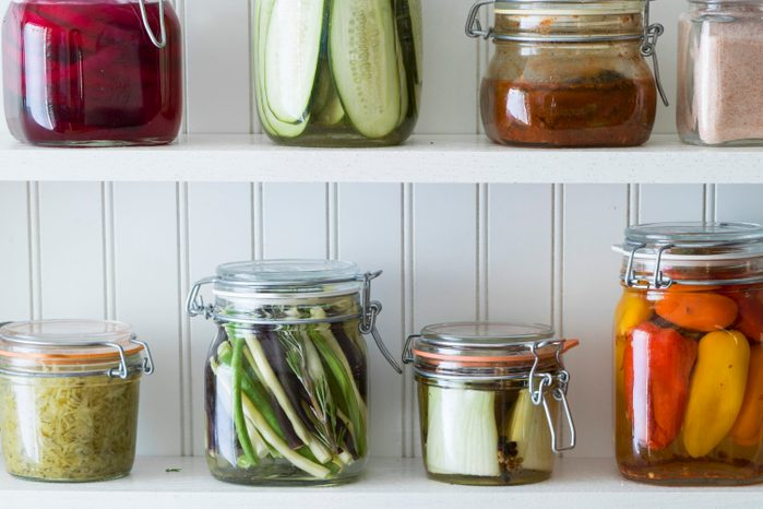 variety of preserved pickled vegetables