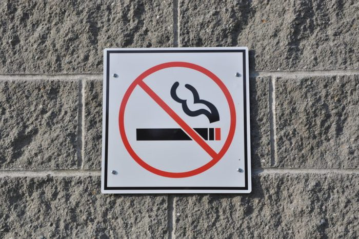 No smoking sign on the wall