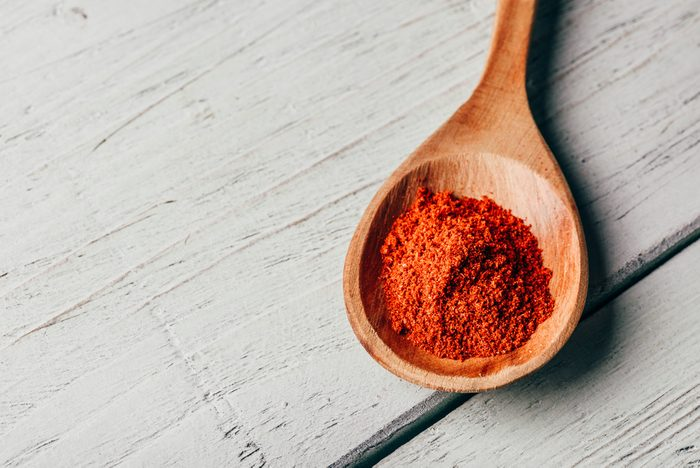 Spoonful of red chili peppers powder