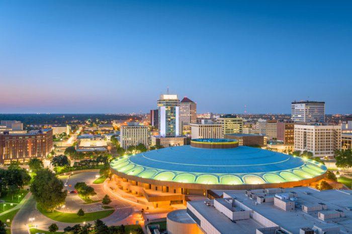 Wichita, Kansas, USA downtown skyline at dusk.