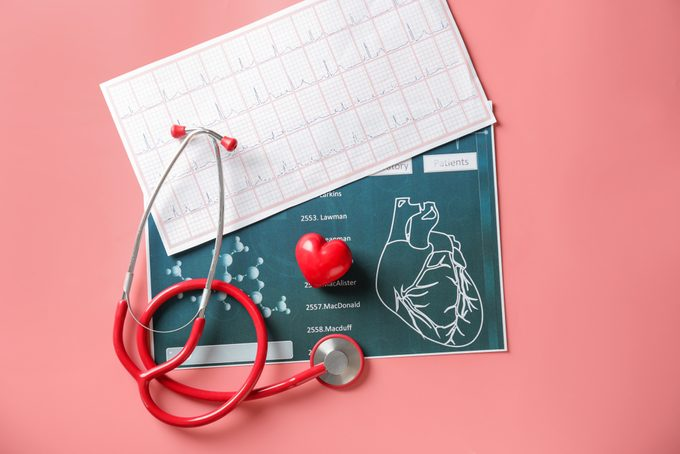 Medical stethoscope, red heart and cardiogram on color background