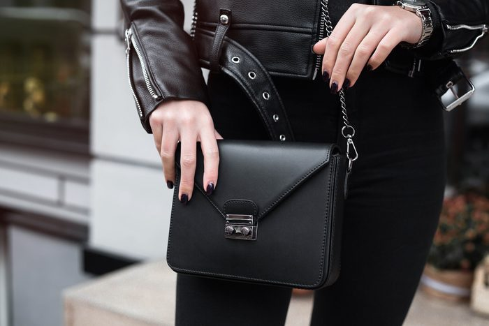 woman with black purse